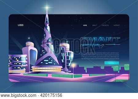 Smart City Cartoon Landing Page, Futuristic Glass Buildings Of Unusual Shapes Along Empty Road At Ni