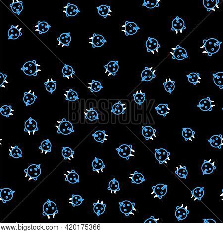 Line Aries Zodiac Sign Icon Isolated Seamless Pattern On Black Background. Astrological Horoscope Co