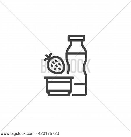 Strawberry Yoghurt Line Icon. Linear Style Sign For Mobile Concept And Web Design. Yoghurt Bottle An