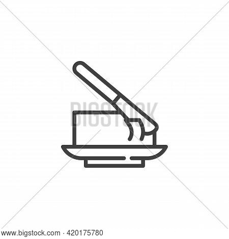 Butter And Knife Line Icon. Linear Style Sign For Mobile Concept And Web Design. Dairy Butter Outlin