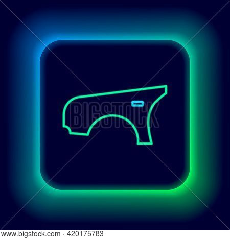 Glowing Neon Line Car Fender Icon Isolated On Black Background. Colorful Outline Concept. Vector