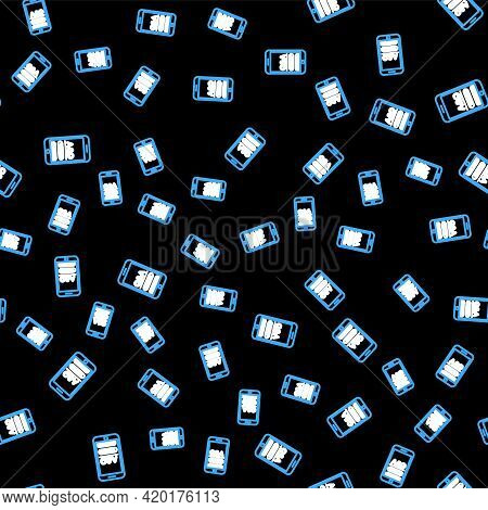 Line Mobile Phone With Question And Exclamation Icon Isolated Seamless Pattern On Black Background.