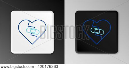 Line Healed Broken Heart Or Divorce Icon Isolated On Grey Background. Shattered And Patched Heart. L