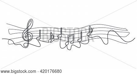 Self Drawing Musical Notes One Line. Simple Black Musical Symbolsof Single Continuous Drawing On Whi