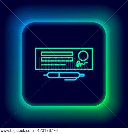 Glowing Neon Line Blank Template Of The Bank Check And Pen Icon Isolated On Black Background. Checkb
