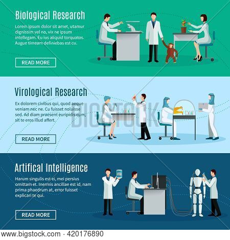 Science Horizontal Banners Set With Scientists Making Biological Virological And Artificial Intellig