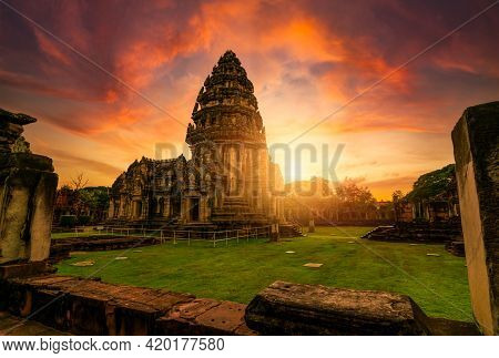 Selective Focus On Phimai Historical Park With Sunset Sky. Landmark Of Nakhon Ratchasima, Thailand.