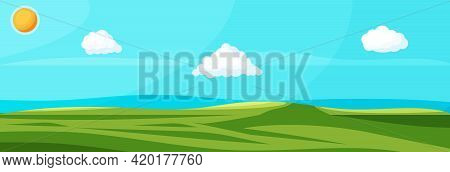 Empty Green Landscape With Blue Sky, Clouds And Sun. Green Meadow With Grass. Sunny Glades With Fiel