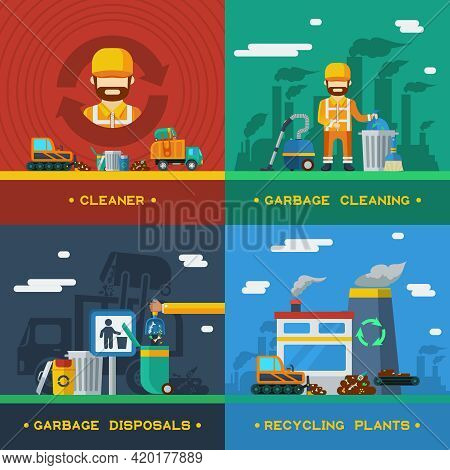 Garbage Removal 2x2 Flat Design Concept With Rubbish Cleaning Disposal Technique And Recycling Plant