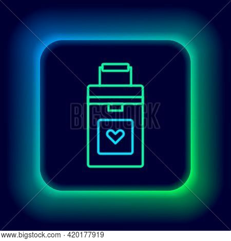 Glowing Neon Line Cooler Box For Human Organs Transportation Icon Isolated On Black Background. Orga