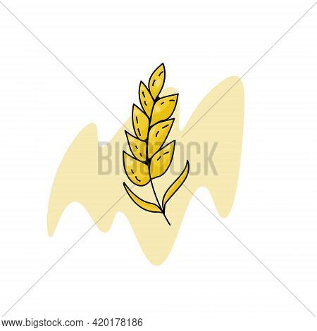 Spikelet Icon Or Logo For Bakery, Baking Or Cereal Products, Cereal Plant On Abstract Spot Vector Il