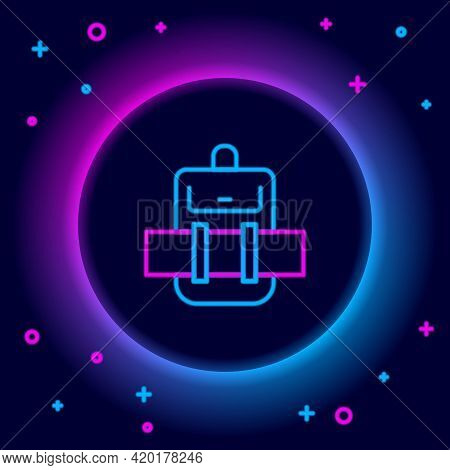 Glowing Neon Line Hiking Backpack Icon Isolated On Black Background. Camping And Mountain Exploring