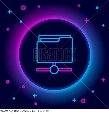 Glowing Neon Line Ftp Folder Icon Isolated On Black Background. Software Update, Transfer Protocol,