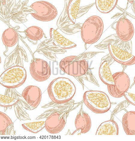 Seamless Pastel Pattern With Passion Fruits On White Background. Endless Repeatable Texture With Pas