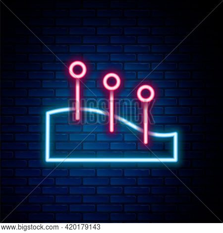 Glowing Neon Line Acupuncture Therapy Icon Isolated On Brick Wall Background. Chinese Medicine. Holi