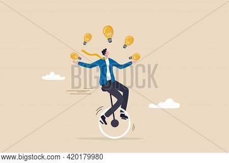 Creativity And Ideas, Innovation Or Skill To Success In Business, Skillful Businessman Riding Unicyc