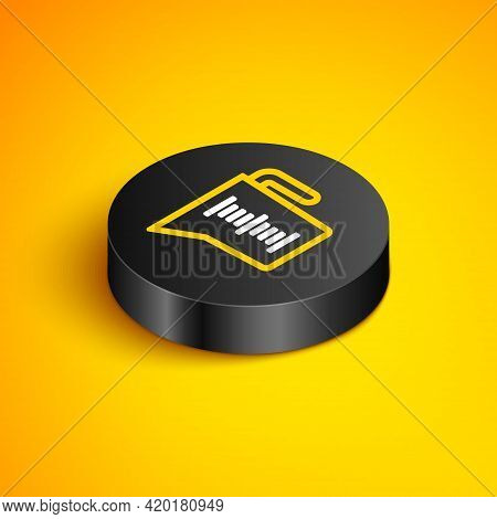 Isometric Line Measuring Cup To Measure Dry And Liquid Food Icon Isolated On Yellow Background. Plas