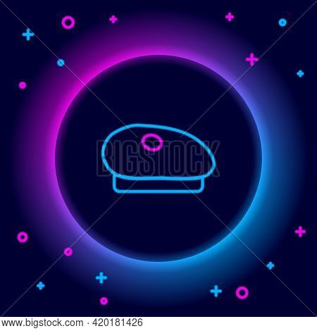 Glowing Neon Line French Beret Icon Isolated On Black Background. Colorful Outline Concept. Vector