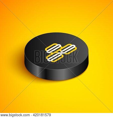 Isometric Line Macaron Cookie Icon Isolated On Yellow Background. Macaroon Sweet Bakery. Black Circl