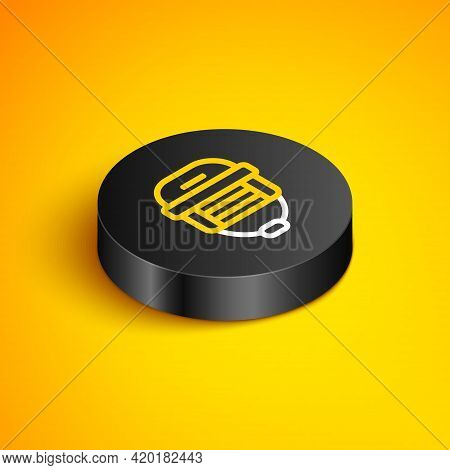 Isometric Line Hockey Helmet Icon Isolated On Yellow Background. Black Circle Button. Vector
