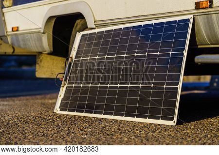 Portable Solar Photovoltaic Panel, Charging Battery At Camper Car Rv