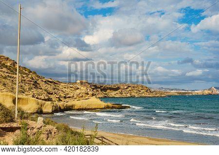 Carolina Beach At Mediterranean Sea, Murcia Region Spain.