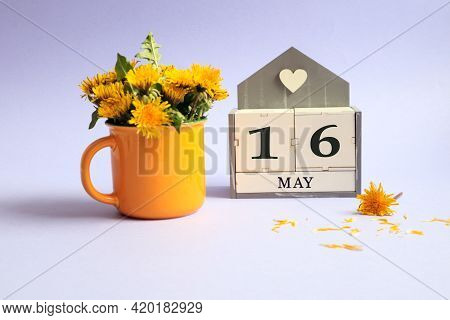 Calendar For May 16: Cubes With The Number 16, The Name Of The Month Of May In English, A Bouquet Of