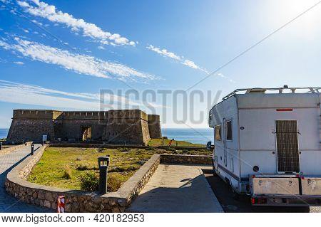 Caravan On Coastal Fortification, Castle Near The Town Of Los Banos De Guardias Viejas, Almeria Prov