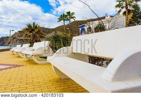 Coastal Landscape With Seaside Promenade In Spanish Resort Village. Carchuna Beach. Costa Tropical,