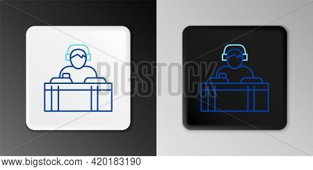 Line Dj Wearing Headphones In Front Of Record Decks Icon Isolated On Grey Background. Dj Playing Mus