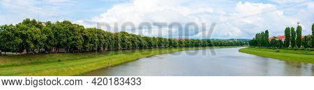 Panorama Of River Uzh Between Linden And Chestnut Alleys On The Nezalezhnosti And Kyiv Embankments.