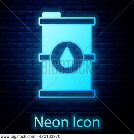 Glowing Neon Bio Fuel Barrel Icon Isolated On Brick Wall Background. Eco Bio And Canister. Green Env