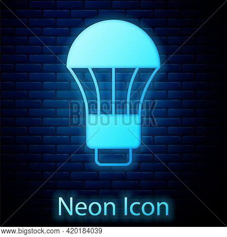 Glowing Neon Led Light Bulb Icon Isolated On Brick Wall Background. Economical Led Illuminated Light