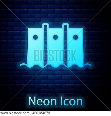 Glowing Neon Hydroelectric Dam Icon Isolated On Brick Wall Background. Water Energy Plant. Hydropowe