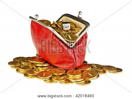 Open Old Red Purse With Gold Coins And The Dicing Cube With The Word Buy.
