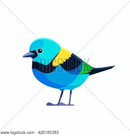 Green Headed Tanager, Tangara Seledon . Tanager Is A Brightly-colored Bird Cartoon Flat Style Beauti