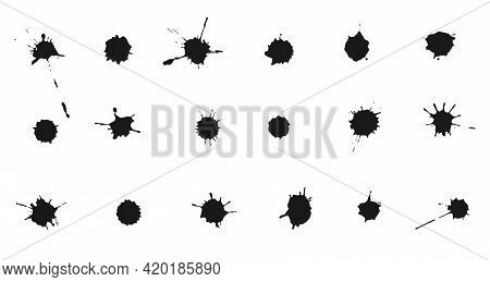 Set Of Ink Splashes And Drops. Collection Of Handdrawn Blobs, Blots And Spatters