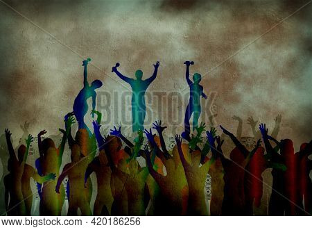 Concert. Silhouettes of crowd and performers on stage. Modern art. 3D rendering