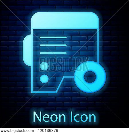 Glowing Neon Portable Power Electric Generator Icon Isolated On Brick Wall Background. Industrial An