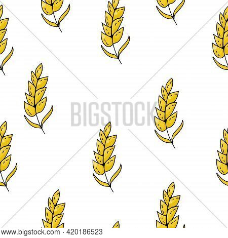 Seamless Pattern Of Bright Yellow Spikelets On A White Background Vector Illustration