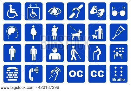Set Of Disability Icon Or Disability Infographics Element Or Disability Accessibility Icon Or Physic