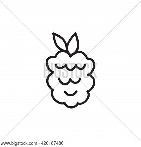 Raspberry Vector Illustration. Cute Simple Raspberry Forest Fruit Hand Drawn Icon, Black Outline. Is