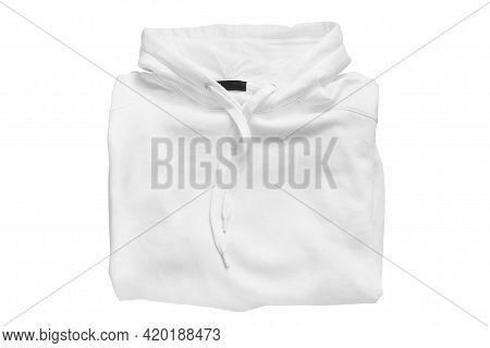 White Folded Hoody Sweatshirt Isolated Over White