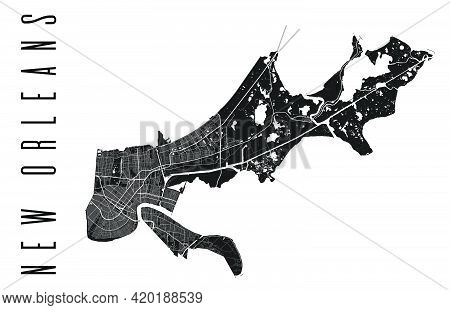 New Orleans Map. Detailed Vector Map Of New Orleans City Administrative Area. Cityscape Poster Metro