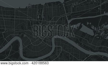 Black And Dark Grey New Orleans City Area Vector Background Map, Streets And Water Cartography Illus