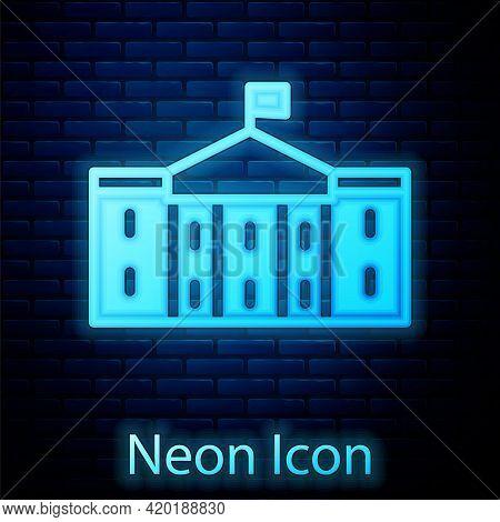 Glowing Neon United States Capitol Congress Icon Isolated On Brick Wall Background. Washington Dc, U
