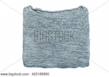 Blue Melange Knit Pullover Isolated Over White