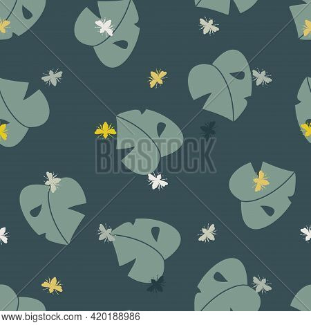 Vector Simplified Monstera Leaves With Busy Bees Seamless Pattern Background. Perfect For Fabric, Sc