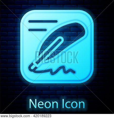Glowing Neon Declaration Of Independence Icon Isolated On Brick Wall Background. Vector