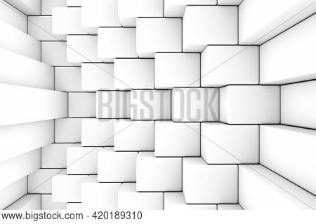 Black And White Steps Abstract Background 3d Render Illustration
